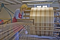 Yarn passes from the creel, through the reed and onto the warping mill/drum. #whitchurchsilkmill