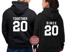 New Matching Couple Hoodies in our TeeLikeYours etsy shop: Together Since + Mr & Mrs Cute Couple Hoodies, Matching Hoodies For Couples, Matching Couple Gifts, Couple Shirts, Disney Bound Outfits, Couple Outfits, Family Outfits, Cotton Anniversary Gifts For Him, 25th Anniversary