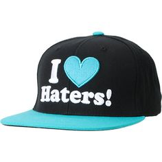 I Love Haters Black/Turquoise Snapback Hat at Zumiez Fandom Outfits, Swag Outfits, Typical White Girl, Nba Hats, Cute Hats, Summer Hats, Snapback Hats, Hats For Men, Turquoise