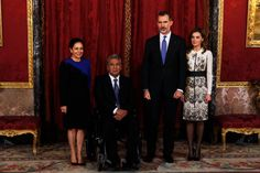 King Felipe VI of Spain (2R) and Queen Letizia of Spain (R) receives President of Ecuador Lenin Moreno Garces (2L) and his wife Rocio Gonzalez Navas (L) at the Royal Palace on December 18, 2017 in Madrid, Spain.