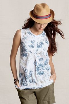 Lands' End Canvas Patterned Pintuck Shell
