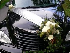 Floral and Landscaping: Wedding Car Deco,Fresh or Silk Flower Wedding Getaway Car, Wedding Day, Wedding Flowers, Flowers In Jars, Silk Flowers, Family Car Decals, Bridal Car, Wedding Car Decorations, Wedding Arrangements