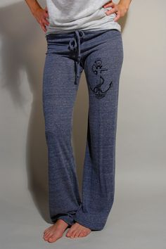 Screen Printed Anchor Womens Eco- True Navy Lounge Pant by Branch Handmade    Super comfortable and looks great too. These pants are perfect for lounging in, working out in, doing errands... youll put them on and not want to take them off! Wide leg pant hand screen printed with an anchor design on the upper thigh of one leg of the pants. Pants part of Alternative Earth collection, made from a blend if organic cotton, recycled polyester and naturally occurring rayon. Featuring wide waistband…