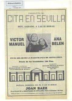 """Archivo de Víctor Manuel: Anuncio aparecido en """"El Correo de Andalucía"""", anunciando el concierto a celebrar en La Maestranza de Sevilla el 19 de mayo de 1984."""
