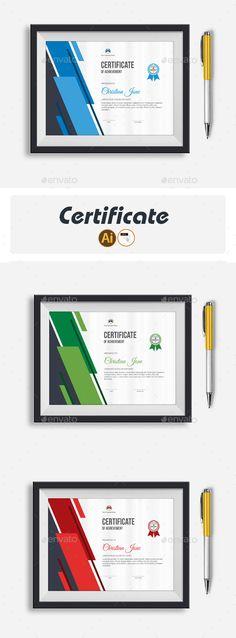 Certificate Template Vector EPS, AI Illustrator Stationery Printing, Stationery Templates, Stationery Design, Print Templates, Certificate Layout, Certificate Templates, Certificate Of Achievement, Print Design, Graphic Design