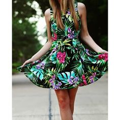 Simple Round Neck Sleeveless Floral Print Chiffon Women's Dress