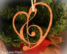 Heart Ornament made from Music Symbols laser cut by TheLaserPlace