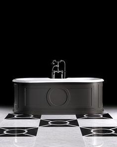 Le style Art déco apporte classe et originalité à la salle de bains. Découvrez nos 5 conseils pour adopter le style Art Déco dans votre salle de bains. Devon Devon, Sink, Design, Glamour, Orb Light Fixture, Wall Lamp Shades, Color Interior, Cast Iron Bathtub, Basic Colors
