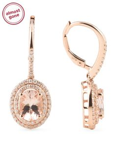 14k Rose Gold Diamond and Morganite Drop Earrings @tjmaxx