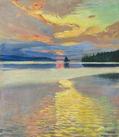 (ok, a lake painting) Akseli Gallen-Kallela (Finnish - Sunset Over Lake Ruovesi Abstract Landscape, Landscape Paintings, Sunset Landscape, Kunst Online, Nordic Art, European Paintings, Art History, Modern Art, Art Photography