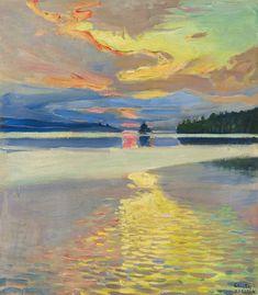 """birdsong217: """" Akseli Gallen-Kallela (Finnish, 1865-1931) Sunset over Lake Ruovesi, 1915-16. Oil on canvas. """""""