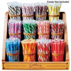 Our Old Fashion Candy Sticks Jar and Rack Combination offers 6 of our best flavors as well as sturdy plastic jars and a retro candy stand! Bulk Candy, Candy Shop, Candy Jars, Hard Candy, Candy Buffet, Stick Candy, Candy Stores, Candy Dishes, Candy Brands