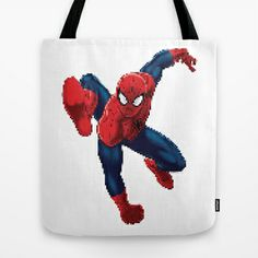 PIXELATED SPIDER MAN Tote Bag by Marco Lilliu - $22.00