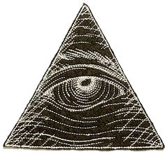 """Amazon.com: [Single Count] Custom and Unique (4.7"""" x 4.4"""" Inch) """"Symbolic"""" Eye of Providence All Seeing Eye Illuminati Symbol Iron On Embroidered Applique Patch {Black & White Colors}"""