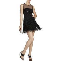 BCBGMAXAZRIA Melly Embroidered-Bodice Short Dress ($300) ❤ liked on Polyvore featuring dresses, black, embellished dress, round neck sleeveless dress, sleeveless dress, mesh dress and short fringe dress