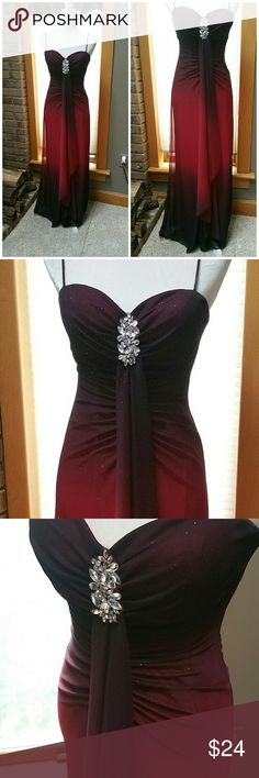 "Elegant dk red ombre prom gown. Size 3/4 Gathered at bust with clear jewels and a draping scarf effect going down the front. Speghetti straps, beautiful dark cranberry and black cherry red ombre fabric. Two layers. Zippers up back. Measures approx. 56.5"". Bust measures approx. 32/34"" padded, no need for bra. Hips measure approx. 32"". My daughter is 110lbs and this fits her nicely. Can be easily altered. Boutique Dresses Prom"