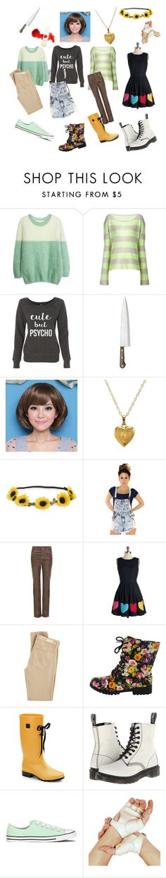 """""""Undertale: Chara"""" by notasupervillian ❤ liked on Polyvore featuring The Elder Statesman, Clair Beauty, Lord & Taylor, Aéropostale, Per Una, Nishe, AG Adriano Goldschmied, Däv, Dr. Martens and Converse"""