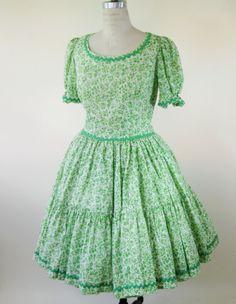 60s Green Floral Dress Swing Dress Square Dance Womens Large by BijouVintageBazaar, $42.99