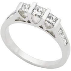 3/4 CARAT TW DIAMOND RING  An exquisite 3/4 carat princess cut three stone diamond ring set in 18kt white gold. Perfect for that special someone in your life. From Michael Hill Jewellers
