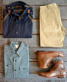 Nigel Cabourn - Ventile Aircraft Jacket The Real McCoys - Double Diamond Trousers The Real McCoys - Double Diamond Chambray Work Shirt Oak Street Bootmakers - Leather Sole Cap Toe Trench Boot