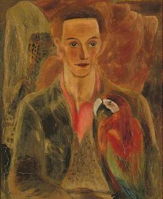 Portrait of Cedric Morris (Man with Macaw), 1930 by Frances Hodgkins (British 1869-1947)