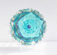 Cotton Candy Blue -- a Blue Ram Bloom vintage glass flower for indoor or outdoor decor! SOLD. Please see my other creations at: www.etsy.com/shop/theblueram. #glassflower
