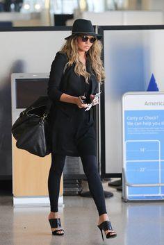 Chrissy Teigen Wearing all black at LAX. - ELLE.com