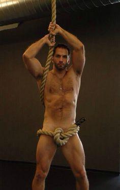Haha! His rope has a boner.