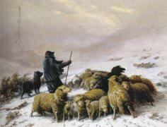 FLOCK OF SHEEP IN THE SNOW - August Friedrich Albrecht Schenck