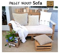 This pallet sofa is awesome. We love the funky look of this upcycled furniture piece. It's perfect for a summer deck! This pallet sofa was built around the dimensions of a reused futon mattress. Find a plush mattress and make yourself a pallet wood sofa. Diy Outdoor Furniture, Pallet Furniture, Outdoor Sofa, Outdoor Pallet, Furniture Ideas, Pallet Patio, Outdoor Living, Painted Furniture, Outdoor Seating
