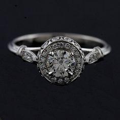 Design Diamond Pave Set Vintage Style 14k White Gold by OroSpot, $2299.00