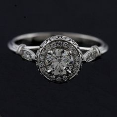 Design Diamond Pave Set Vintage Style 14k White Gold Engagement Ring. $2,299.00, via Etsy.