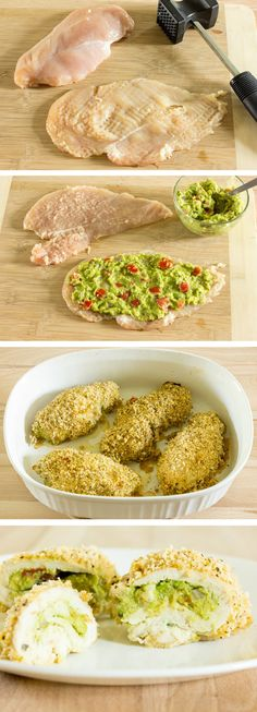 Guacamole Stuffed Chicken Breast - Chicken is smothered in guacamole; rolled up; coated in flavorful breadcrumbs; and baked.