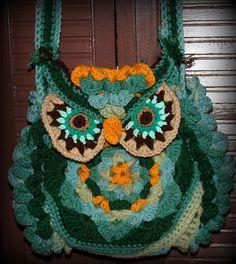 Granny Square crochet Owl bag