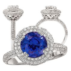 18k created 7.5mm round blue sapphire engagement ring with natural diamond halo