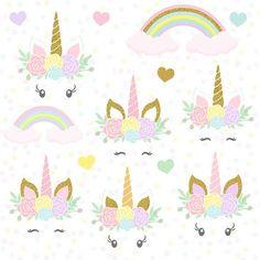 Unicornios mágicos unicornios Glitter oro cabeza de