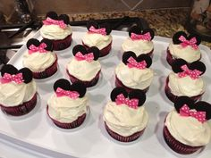 Minnie Mouse cupcakes for the birthday girl