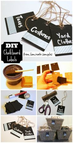 How To Make Chalkboard Labels from laminate samples- an easy and thrifty labeling solution for baskets! Use DIY Chalkboard Paint as well. tutorial at The Happy Housie by barbra Diy Chalkboard Paint, Chalkboard Labels, Chalk Labels, Chalkboard Drawings, Chalkboard Lettering, Chalk It Up, Chalk Board, Paper Crafts, Diy Crafts