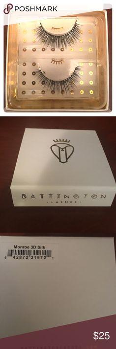 Silk eyelashes New in box Battington Monroe 3D silk eyelashes.  Glam up for a night out!  Up to 25 uses with the proper care. Battington Makeup False Eyelashes