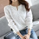 Women Chiffon Blouse Elegant Lace White Work Shirts Long Sleeve Solid Casual Tops Female Blusas Women Clothes - How To Be Trendy Tops Bordados, White Chiffon Blouse, Lace Chiffon, White Lace Shirts, Chiffon Shirt, Office Fashion Women, Ladies Fashion, Work Shirts, Plus Size Blouses