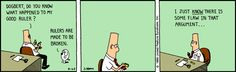 """""""Bending... Rulers"""" -   The Dilbert Strip for August 25, 1989"""