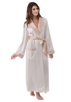 Silk women nightwear robes--Ivory+Khaki robes #Silk #robes | Revesilk.com