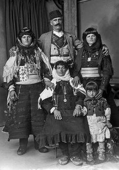 Portrait of an Albanian family from Shkodër (northern Albania).  Early 20th century.  (Studio Marubi, Shkodra).