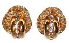 Elsa Schiaparelli rhinestone earrings mid century