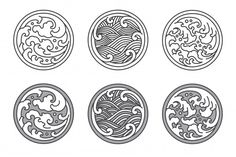 Illustration about Oriental water wave in round shape frame icon. A tradional style of Japanese, Thai, Chinese line art. design on white background. Illustration of design, chinese, drawn - 142535677 Japanese Waves, Japanese Logo, Japanese Art, Japanese Wave Tattoos, Japanese Icon, Traditional Japanese, Chinese Logo, Chinese Branding, Wave Drawing