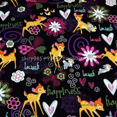 >> Click to Buy << 140cm Width Black Background Cartoon Bambi Cotton Fabric for Baby Boy Clothes Bedding Set Sewing Patchwork DIY-AFCK063 #Affiliate