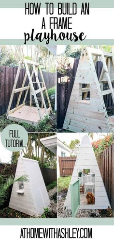 DIY A Frame Play House. This outdoor playhouse is easy and cheap to make and is perfect for boys or girls. How to build a backyard playhouse for kids that is simple with cute decor. My toddler loves this space to play! Click through for th Backyard Playhouse, Build A Playhouse, Simple Playhouse, Playhouse For Kids, Treehouse Kids, Playhouse Decor, Pallet Playhouse, Outdoor Forts, Outdoor Playhouses