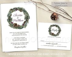 Pinecone Winter Wedding Invitation Printable Set Rustic Wedding Evergreen Greenery Wreath Pinecone Wedding Invites Purple Digital Template by NotedOccasions