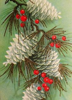 white pine cones and berries vintage Christmas card image