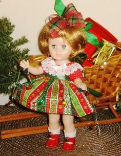 "Ginny Doll Dress Christmas Trimming Set for 8"" Fits Muffie 4 Pieces No Doll 
